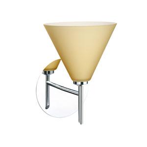 Kani Chrome One-Light LED Bath Sconce with Vanilla Matte Glass