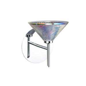Kona Chrome One-Light LED Bath Sconce with Dicro Swirl Glass