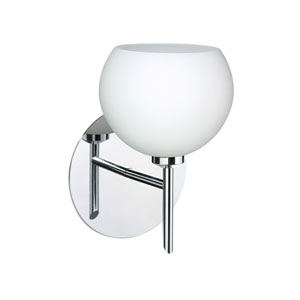 Palla 5 Chrome One-Light LED Bath Sconce with Opal Matte Glass