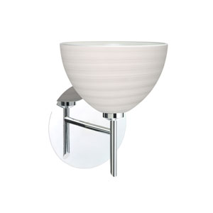 Brella Chrome One-Light LED Bath Sconce with Chalk Glass