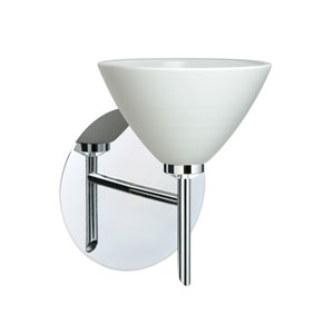 Domi Chrome One-Light LED Bath Sconce with Chalk Glass