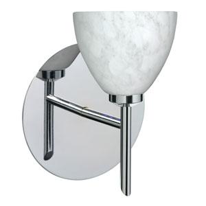 Divi Chrome One-Light LED Bath Sconce with Carrera Glass