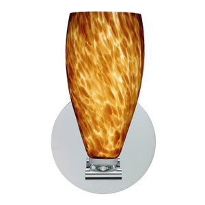 Karli Polished Nickel One-Light LED Bath Sconce with Amber Cloud Glass