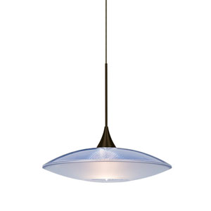 Spazio Bronze One-Light Halogen Mini Pendant with Blue and Frost Shade