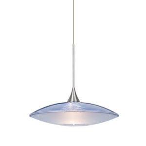 Spazio Satin Nickel One-Light Halogen Mini Pendant with Blue and Frost Shade