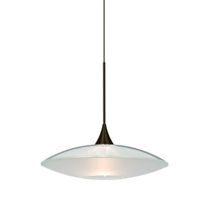 Spazio Bronze One-Light Halogen Mini Pendant with Clear and Frost Shade