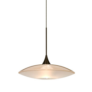 Spazio Bronze One-Light Halogen Mini Pendant with Gold and Frost Shade