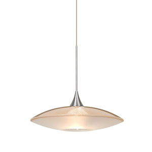 Spazio Satin Nickel One-Light Halogen Mini Pendant with Gold and Frost Shade