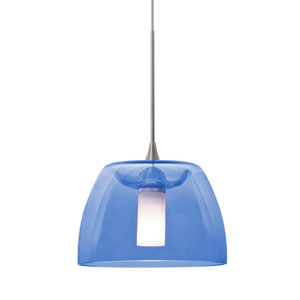 Spur Satin Nickel One-Light Halogen Mini Pendant with Blue Shade