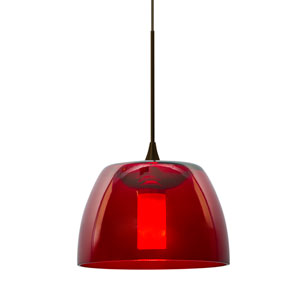 Spur Bronze One-Light Halogen Mini Pendant with Red Shade