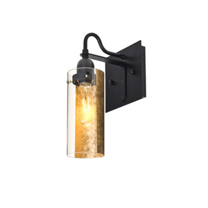 Duke Black One-Light Wall Sconce with Gold Foil Shade