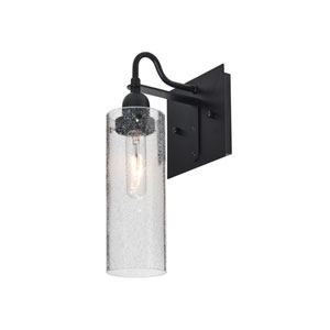 Juni Black One-Light Wall Sconce with Clear Bubble Shade
