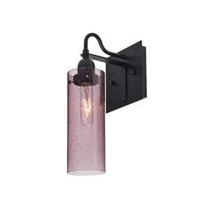 Juni Black One-Light Wall Sconce with Plum Bubble Shade