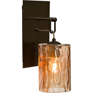 Cruise Bronze One-Light Wall Sconce with Amber Shade
