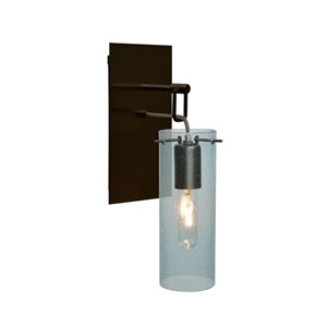 Juni Bronze One-Light Wall Sconce with Blue Bubble Shade