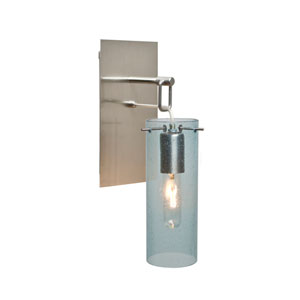 Juni Satin Nickel One-Light Wall Sconce with Blue Bubble Shade