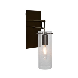 Juni Bronze One-Light Wall Sconce with Clear Bubble Shade