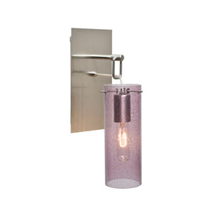 Juni Satin Nickel One-Light Wall Sconce with Plum Bubble Shade