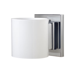Pogo Chrome One-Light Halogen Wall Sconce with Opal Glossy Glass