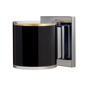 Pogo Chrome One-Light Halogen Wall Sconce with Black and Inner Gold Glass