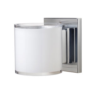 Pogo Chrome One-Light Halogen Wall Sconce with White and Inner Silver Glass