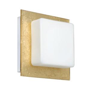 Alex Chrome One-Light Bath Fixture with Opal and Gold Foil Glass