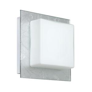 Alex Chrome One-Light Bath Fixture with Opal and Silver Foil Glass