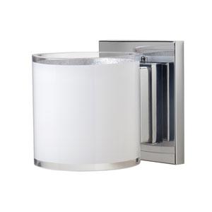 Pogo Chrome One-Light LED Bath Sconce with White Glass