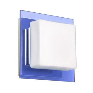 Alex Chrome One-Light LED Bath Sconce with Opal and Blue Glass