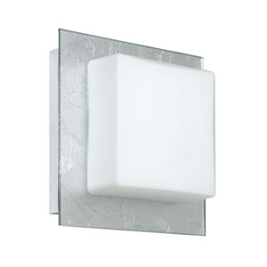 Alex Chrome One-Light LED Bath Sconce with Opal and Silver Foil Glass