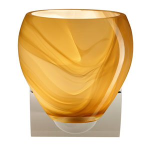 Bolla Chrome One-Light Incandescent Wall Sconce with Honey Glass