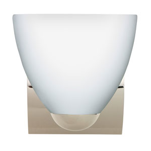 Sasha Chrome One-Light Incandescent Wall Sconce with Opal Matte Glass