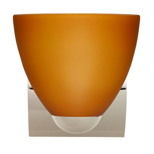 Sasha Chrome One-Light Incandescent Wall Sconce with Amber Matte Glass