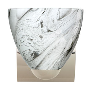 Sasha Chrome One-Light Incandescent Wall Sconce with Marble Grigio Glass