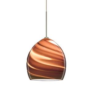 Sprite Satin Nickel One-Light Fixed-Connect Mini Pendant with Smoke Twist Glass
