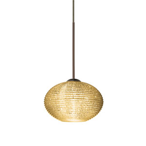 Lasso Bronze One-Light Fixed-Connect Mini Pendant with Gold Glitter Glass