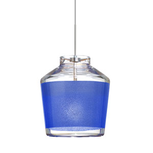 Pica 6 Satin Nickel One-Light Fixed-Connect Mini Pendant with Blue Sand Glass