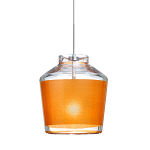 Pica 6 Satin Nickel One-Light Fixed-Connect Mini Pendant with Gold Sand Glass