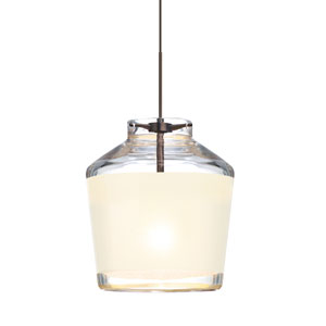 Pica 6 Bronze One-Light Fixed-Connect Mini Pendant with White Sand Glass