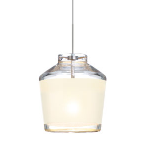 Pica 6 Satin Nickel One-Light Fixed-Connect Mini Pendant with White Sand Glass