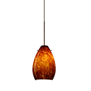 Pera Bronze LED Mini Pendant with Flat Canopy and Amber Cloud Glass