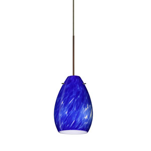 Pera Bronze LED Mini Pendant with Flat Canopy and Blue Cloud Glass