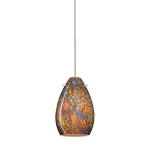 Pera Satin Nickel LED Mini Pendant with Flat Canopy and Ceylon Glass