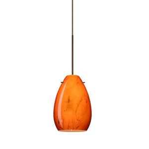 Pera Bronze LED Mini Pendant with Flat Canopy and Habanero Glass