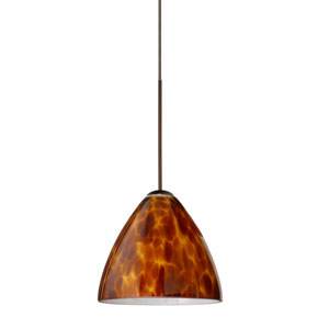 Mia Bronze LED Mini Pendant with Flat Canopy and Amber Cloud Glass