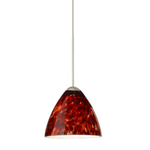Mia Satin Nickel LED Mini Pendant with Flat Canopy and Garnet Glass