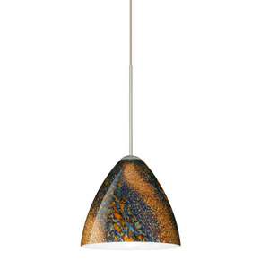 Mia Satin Nickel LED Mini Pendant with Flat Canopy and Ceylon Glass