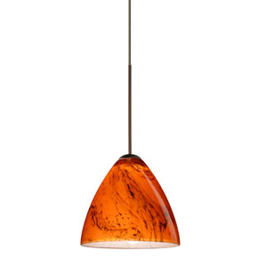 Mia Bronze LED Mini Pendant with Flat Canopy and Habanero Glass