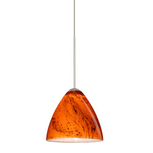Mia Satin Nickel LED Mini Pendant with Flat Canopy and Habanero Glass