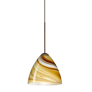 Mia Bronze Halogen Mini Pendant with Flat Canopy and Honey Glass